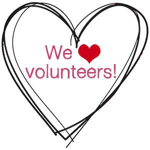 """Illustration: A heart is drawn with the words """"We [heart] volunteers"""""""
